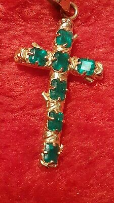 £1900 • Buy 7 GENUINE COLOMBIAN EMERALD CROSS PENDANT & 18K GOLD  (best Gifts Any Time)