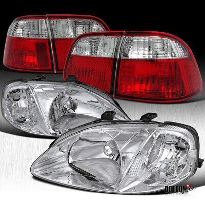 $170.40 • Buy For 1999-2000 Civic 4Dr Sedan Crystal Chrome Headlighs+Red Clear Rear Tail Lamps