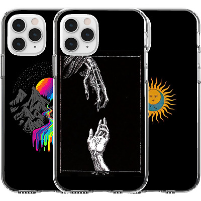 AU16.95 • Buy Silicone Cover Case Cute Pattern Mountains Rainbow Death Life Hand Sun Moon