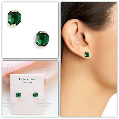 $ CDN30.37 • Buy Kate Spade That Sparkle Princess Cut Stud Earrings NWT Green