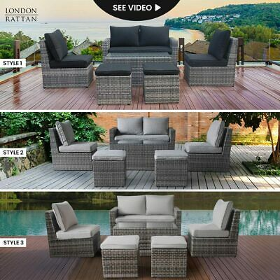 AU829 • Buy LONDON RATTAN Outdoor Furniture 6pc Set Setting Chairs Lounge Wicker Couch Sofa