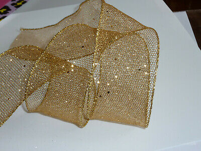 Wide Gold Mesh Lace  Wired Edged Sparkling Ribbon 63mm X 1m • 1.80£