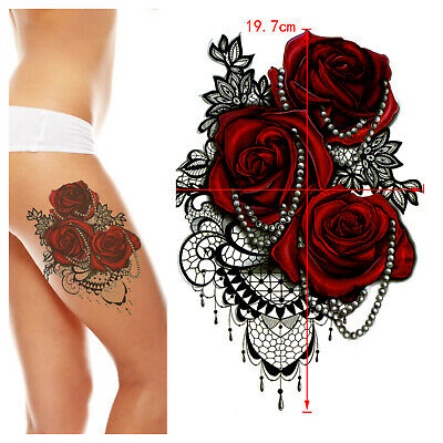 £2.99 • Buy Sexy Large Red Roses Lace Waterproof Temporary Tattoo Fake Sticker Women Girls
