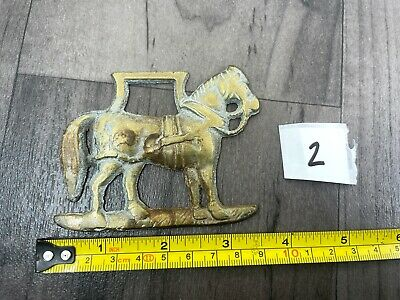 Authentic Vintage Horse Brass Shire Horse Harness Stirrups Tack Design Lucky (2) • 5.99£