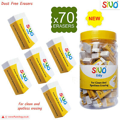 £2.99 • Buy 70 X SIVO Tidy Rubber Pencil White Erasers Office School Home Party Bag Filler
