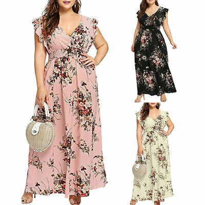 AU25.94 • Buy Women Summer V Neck Floral Print Sleeveless Butterfly Party Maxi Dress Plus Size