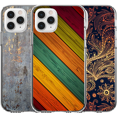 AU16.95 • Buy Silicone Cover Case Prism Abstract Teal Golden Geometric Shapes Wood Pattern Art