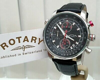 £89.99 • Buy NEW Rotary Mens Watch Black Leather Strap, Chronograph,Luminous RRP£189