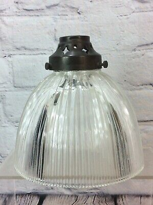Antique Holophane Prismatic Glass Lamp Shade With Brass Gallery Free Uk Delivery • 59.99£