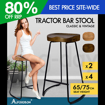 AU109.95 • Buy ALFORDSON Tractor Bar Stools Kitchen Wooden 65cm/75cm Vintage Stool Chairs