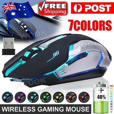AU18.90 • Buy LED Wired Wireless Gaming Mouse USB Ergonomic Optical For PC Laptop Rechargeable
