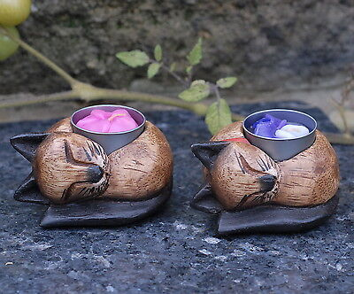 £12.95 • Buy Cat T Light Candle Holder X 2 Hand Carved Wooden With Decorative Candles