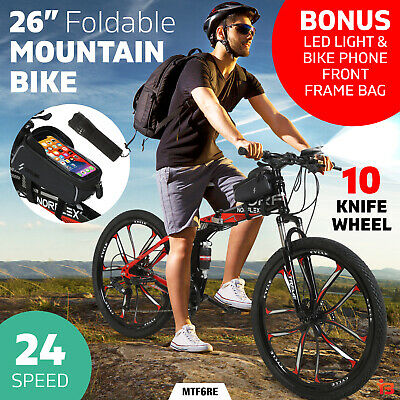 AU299 • Buy Norflex Dual Full Suspension Mountain Bike Foldable Bicycle 24 Speed Black Red