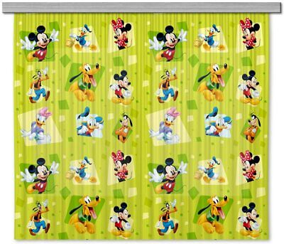 £34.98 • Buy Pair Of Ready Made Green Curtains Children's Bedroom Mickey Mouse 180x160cm