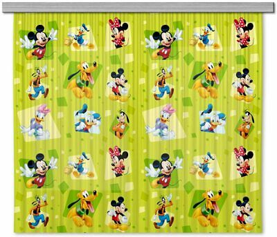 Pair Of Ready Made Green Curtains Children's Bedroom Mickey Mouse 180x160cm  • 34.98£