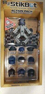 STIKBOT ACTION PACK ROLE PLAY ACCESSORY HELMET PACK NIB Pirate Ninja Fire Police • 8.55£