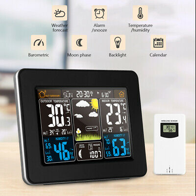 Wireless Weather Station Calendar Humidity Clock Alarm Thermometer Sensor Daily • 30.03£