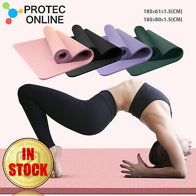 AU29.95 • Buy Yoga Mat Thick Wide NBR Non-slip Exercise Fitness Pilate Gym Dance Sports Pad