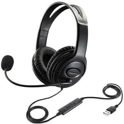 USB Headset + Noise Cancelling Microphone Mic For PC Laptop Chat Call Center UK • 10.99£