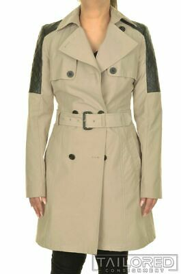 $90 • Buy MACKAGE Solid Beige Cotton Womens Quilted Leather Belted Jacket Trench Coat - XS