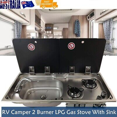 AU960 • Buy Boat RV Caravan 2 Burner LPG Gas Stove Hob And Sink Comb With Glass Lid Faucet