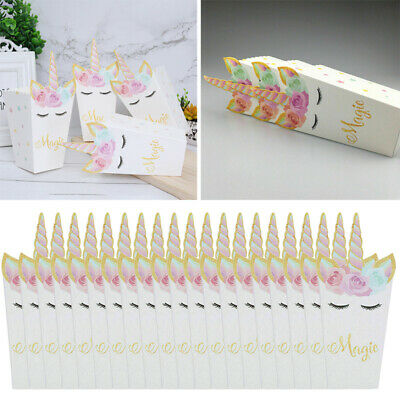 20pcs Unicorn Popcorn Candy Boxes Paper Bags DIYHome Birthday Party Supplies Box • 4.99£