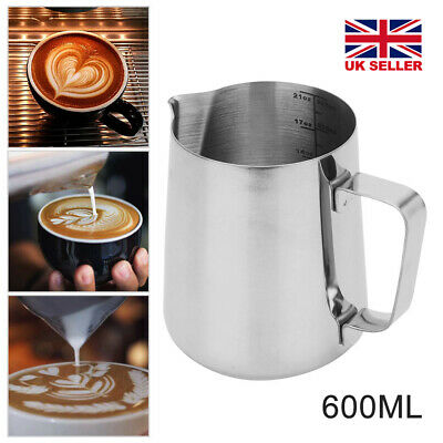 £7.59 • Buy 600ml Stainless Steel Milk Jug Frothing Frother Coffee Latte Pitcher.Thermometer