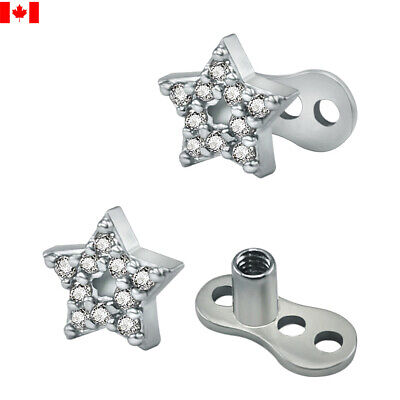 £6.25 • Buy 1PC 14g CZ Star Dermal Anchor Top And Base Surgical Steel Microdermal Skin Diver