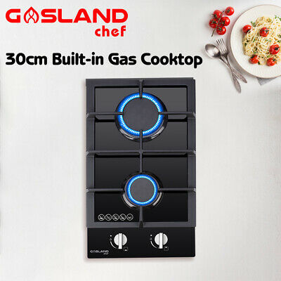 AU199 • Buy GASLAND Chef 30CM Gas Cooktop Glass 2 Burner Gas Hob Cook Top Trivets Stove