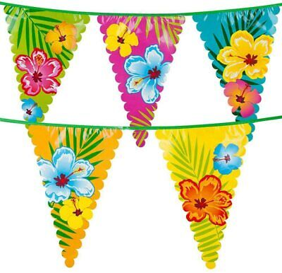 £4.15 • Buy 6m Giant Garden Pennant Bunting Hibiscus Hawaii Tropical Flower Banner Flags BBQ