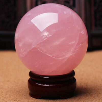 30mm Natural Pink Rose Quartz Magic Crystal Healing Ball Sphere With Stand UK • 5.53£