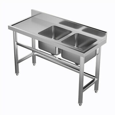 £209.95 • Buy Catering Sink Stainless Steel Double Bowl Commercial Kitchen Left Hand Drainer