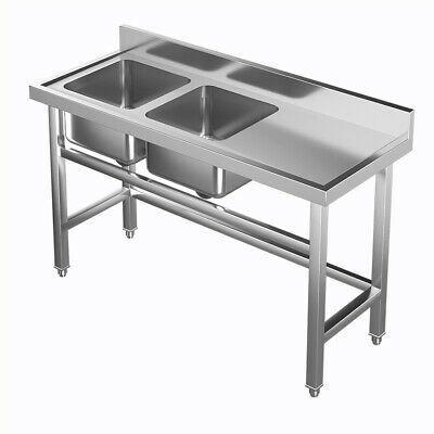 £239.95 • Buy Catering Sink Stainless Steel Double Bowl Commercial Kitchen Right Hand Drainer