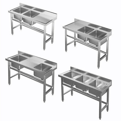 Commercial Catering Sink Stainless Steel Kitchen Double/ Three Bowl Drainer Unit • 215.94£
