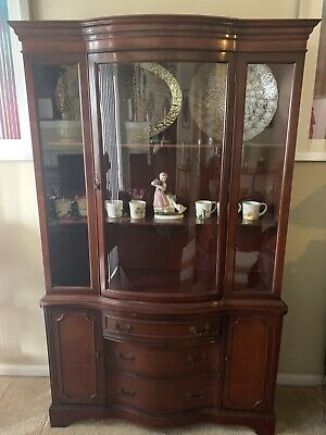 $1200 • Buy Beautiful Antique Curved Glass Mahogany Cabinet - Display Or China From 1920