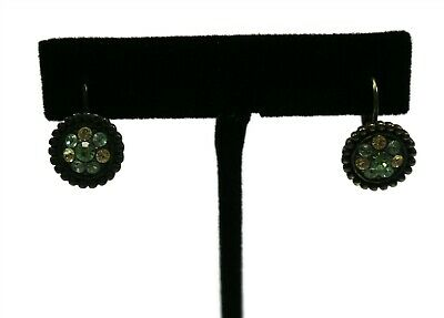 $ CDN6.33 • Buy LIA SOPHIA Signed Antiqued Bronze Yellow Blue Green Rhinestone Earrings