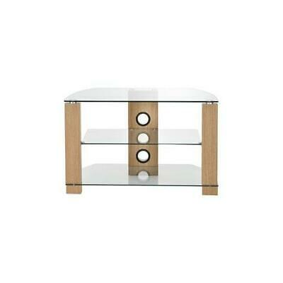 £106.59 • Buy AVS-L630-1050 / 3OC Ttap Group Clear Glass And Oak Tv Stand 3 Shelves