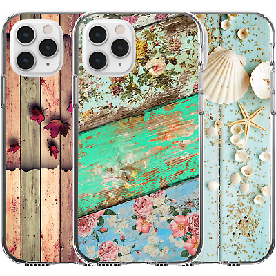 AU16.95 • Buy Silicone Cover Case Cute Pattern Wooden Seashells Autumn Leaves Roses Nature