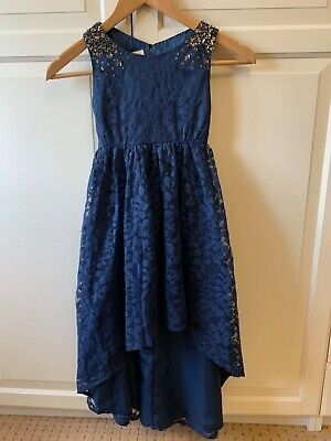MONSOON Girls High Low Dress - Navy - 8 Years - Embellished Sequin Dress • 9£