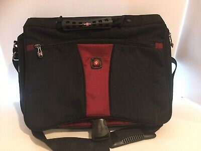 Swiss Gear Mens Messenger Laptop Bag Heavy Duty Black Red 4 Compartments • 14.29£