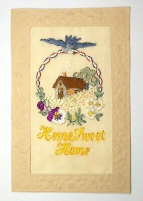 Ww1 Silk Embroidered Postcard - Home Sweet Home  • 6.99£