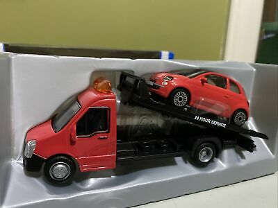Burago - FLATBED TRANSPORT + FIAT 500 (Red) - 'Street Fire' Model Scale 1:43 NEW • 16.99£