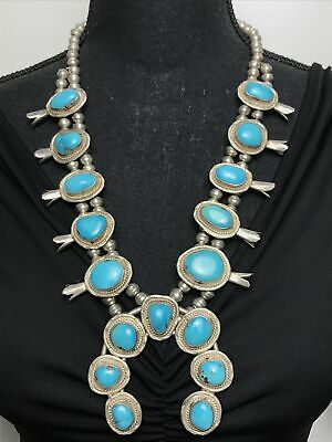 $ CDN983.24 • Buy Vtg 183g Navajo Squash Blossom Sleeping Beauty Turquoise Sterling Necklace