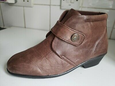 Pavers Hskemp Size Uk 4 Eu 37 Womens Brown Real Leather Flat Ankle Chelsea Boots • 12.99£