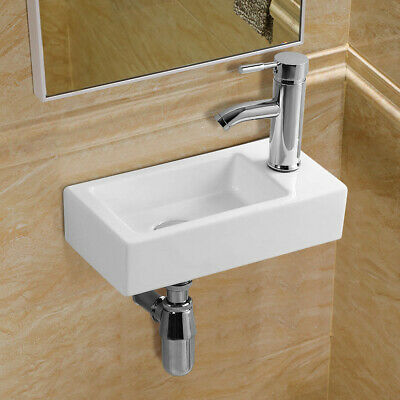 £34.99 • Buy Small Compact Cloakroom Wash Basin Sink Mini Ceramic Wall Mounted 360 X 180 Mm