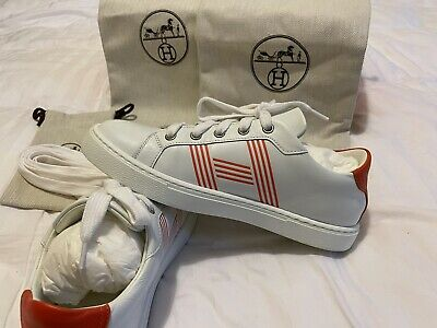 AU700 • Buy Hermes Avantahe White Sneaker Orange 36 Authentic