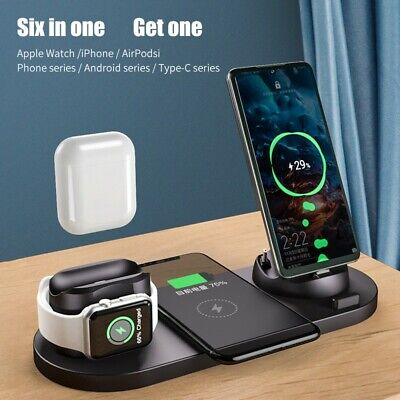 $ CDN28.29 • Buy 6 In 1 Qi Wireless Charger Fast Charging Dock Pad Stand For IPhone /Apple Watch