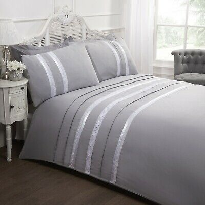 Luxury Embellished Ribbon Lace Silver Grey Double Duvet Quilt Cover Bedding Set • 16.95£