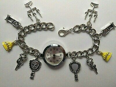 £9.99 • Buy Handmade Silver BEAUTY AND THE BEAST Charm Bracelet Watch With 10 Charms