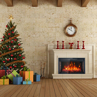 Electric Fire Fireplace LED Log Burning Effect Inset Wall Mounted Heater 29'' UK • 167.94£